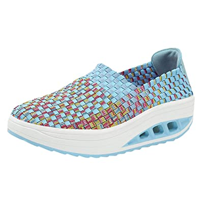 Overmal Sneakers Clearance Women Fashion Woven Shake Shoes Leisure Wedge Sports Shoes Running Casual Shoes