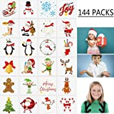 Moon Boat 144PCS Assorted Christmas Temporary Tattoos Stocking Stuffers - Xmas Kids Goodie/Gift bags favors