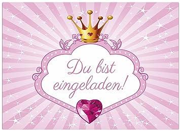 16 Einladungskarten Zum Kindergeburtstag Motiv Prinzessin Rosa