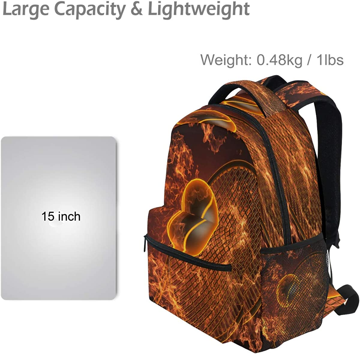 Laptop Backpack Boys Grils Tennis Racket in Fire Made 3D School Bookbags Computer Daypack for Travel Hiking Camping