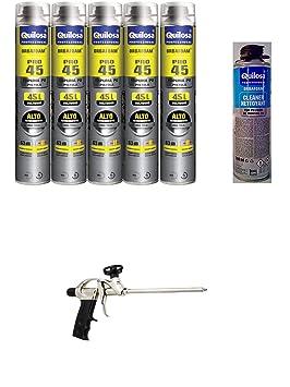 5 Mousses expansives Poliuretano 750 ml para pistola + 1 ...