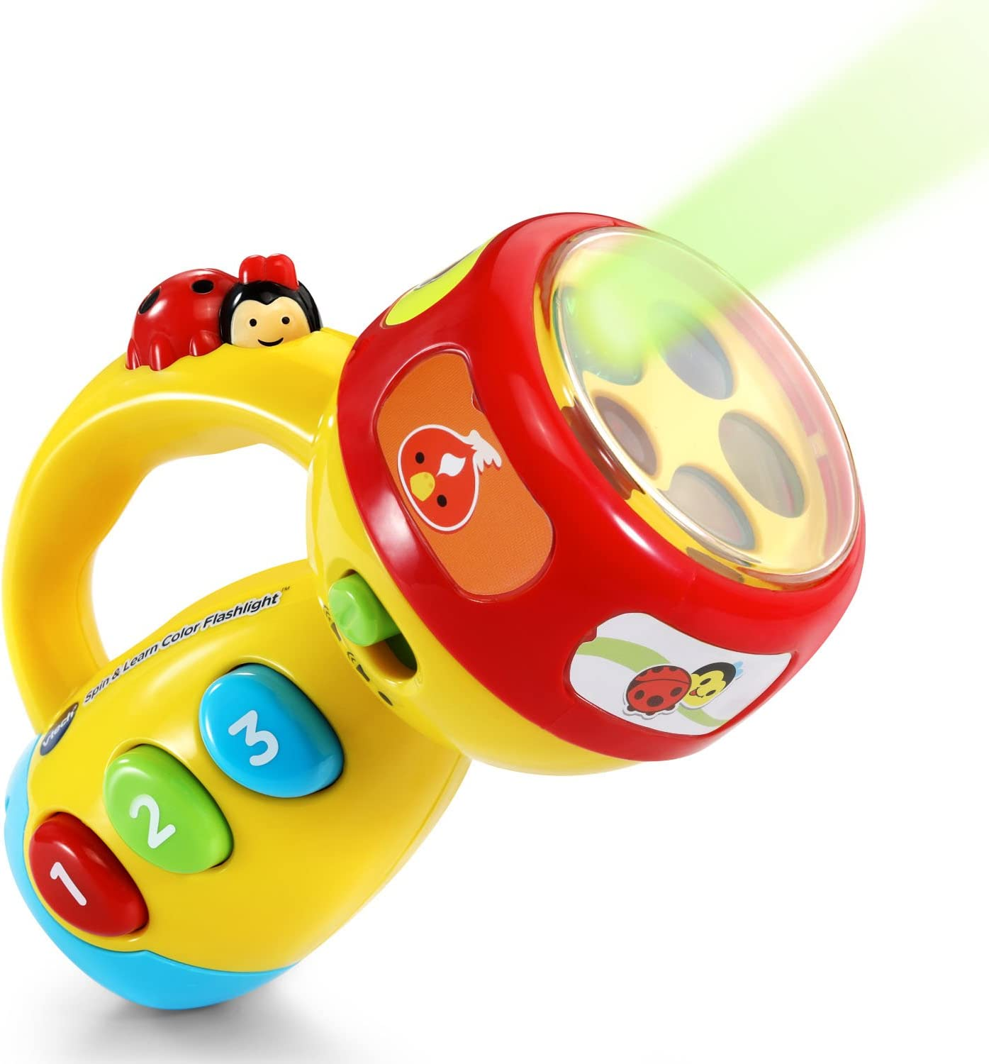Image of a VTEC spin and learn colored flashlight.