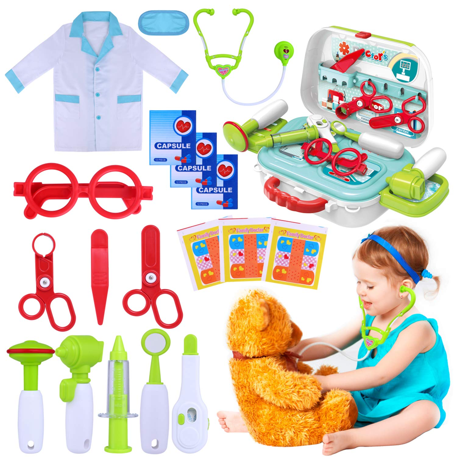 GINMIC Kids Doctor Kit, 22 Piece Kids Pretend Play Toys, Medical Dr Toy Kit with Carry Case, Role Play Doctor Costume for Little Girls, Boys, School Classroom by GINMIC