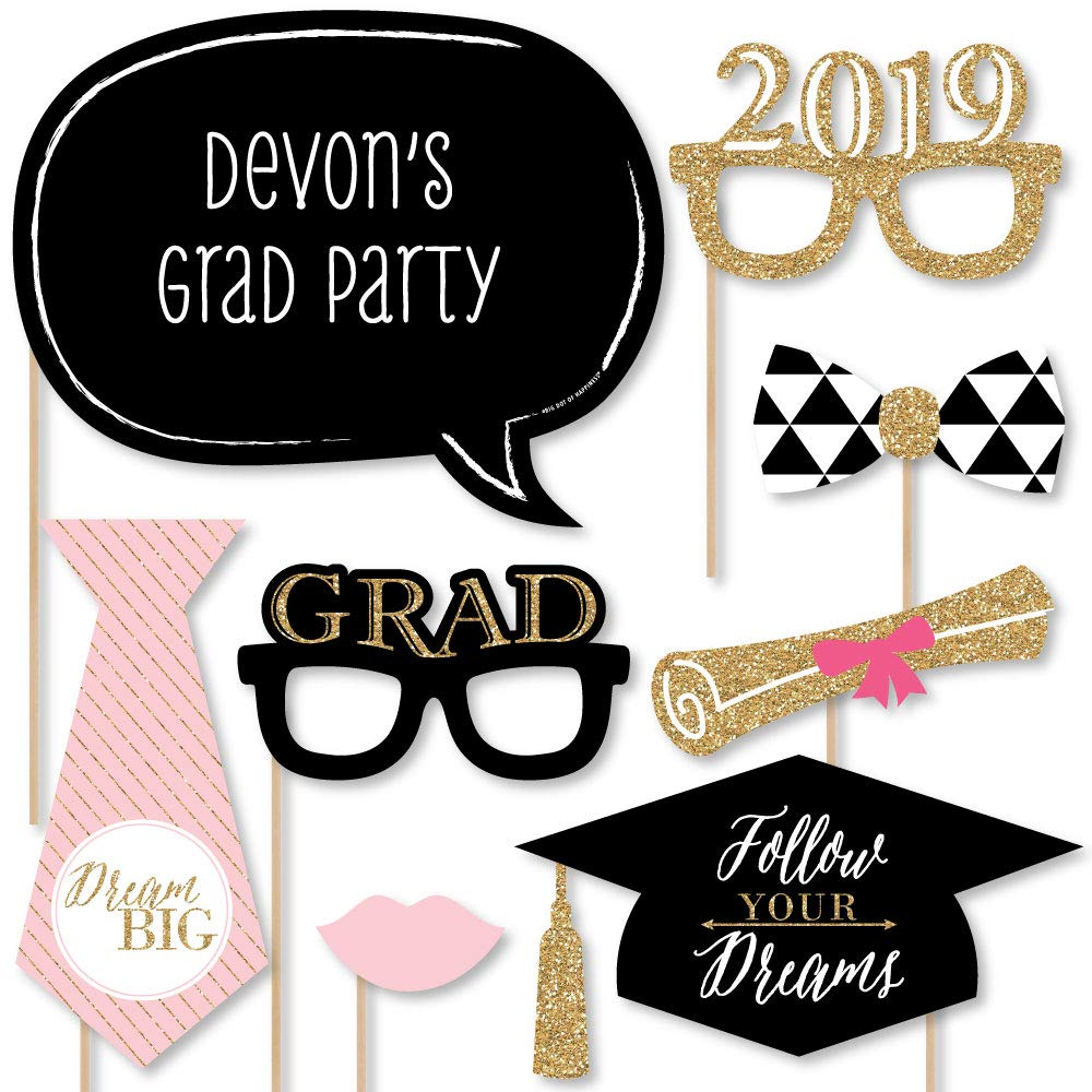 Amazon com custom dream big graduation photo booth props personalized 2019 black pink and gold graduation party supplies 20 selfie props kitchen