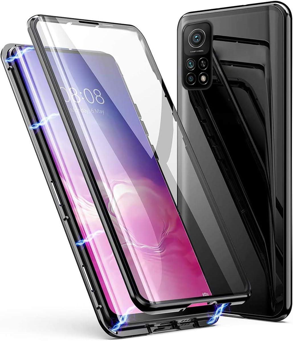 Funda Xiaomi Mi 10T Pro/10T,360 Grados Carcasa Completa, Adsorción magnética, Marco de metal, con Protector de Pantalla Incorporado, Delantero y Trasero Cristal Templado Transparente Case ,Negro
