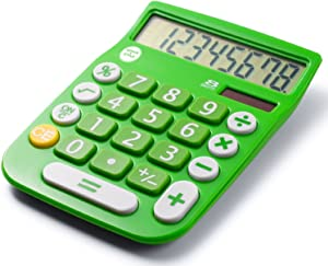 8 Digit Dual Powered Desktop Calculator, LCD Display, Green- by Office + Style