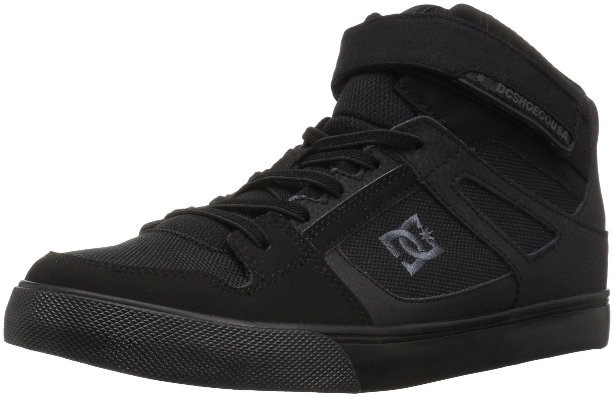DC Boys' Pure HIGH-TOP EV Skate Shoe, Black, 12.5 M US Little Kid