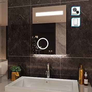 SIRHONA 50x70cm Miroir de Salle de Bains avec éclairage LED Miroir  Cosmétiques Mural Lumière Illumination avec Prise Rasoir, Interrupteur à  Bouton ...