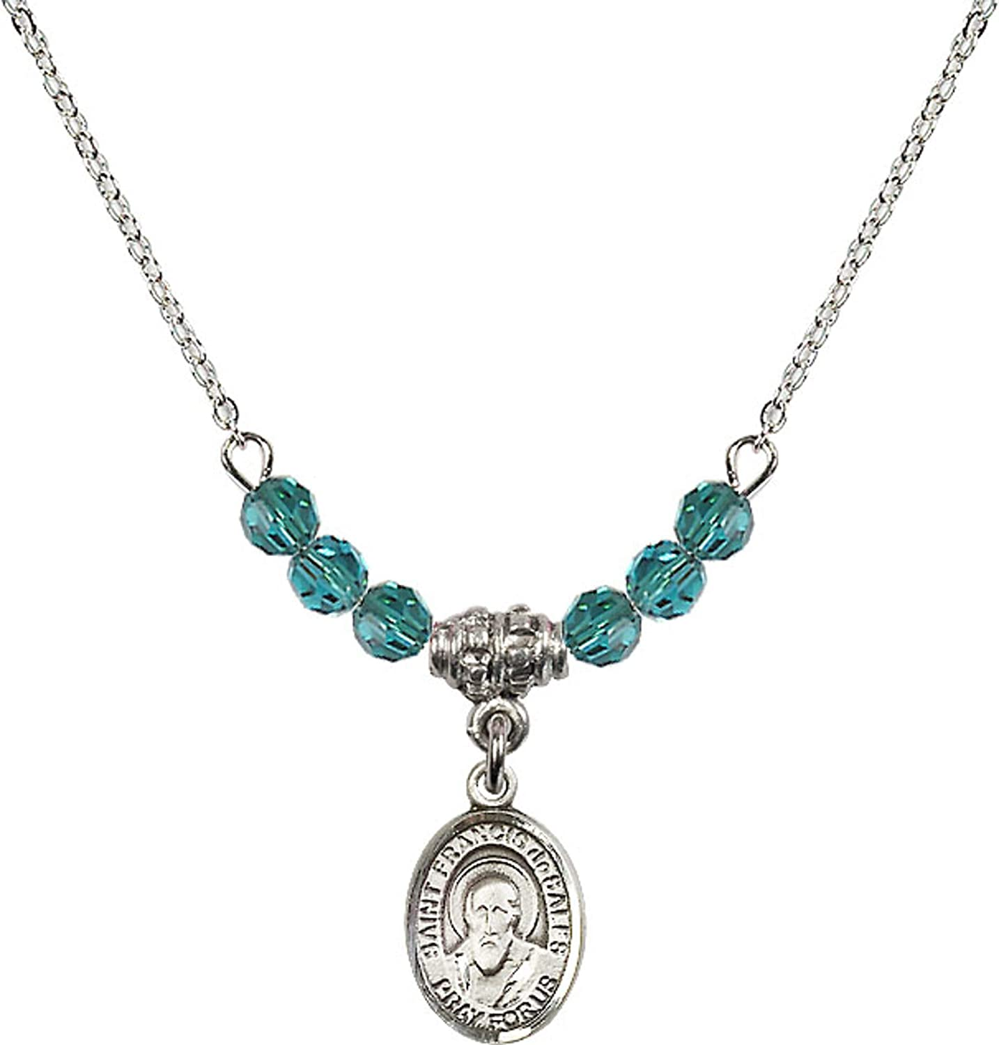 Bonyak Jewelry 18 Inch Rhodium Plated Necklace w// 4mm Blue December Birth Month Stone Beads and Saint Francis de Sales Charm