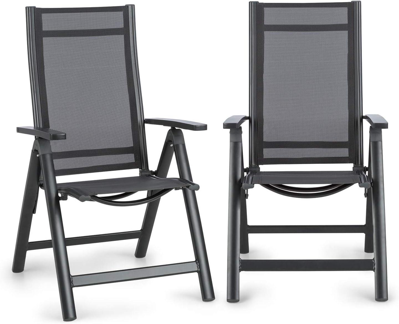 Blumfeldt Cádiz Garden Chair - Dos sillas de jardín, Plegables, Estructura Aluminio, Protección Pintura en Polvo, Tela 2x2 MTS. de Secado rápido, Respaldo 7 Posiciones, Antracita