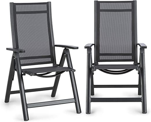 Blumfeldt Cádiz Garden Chair - Dos sillas de jardín, Plegables, Estructura Aluminio, Protección Pintura en Polvo, Tela 2x2 MTS. de Secado rápido, Respaldo 7 Posiciones, Antracita: Amazon.es: Jardín