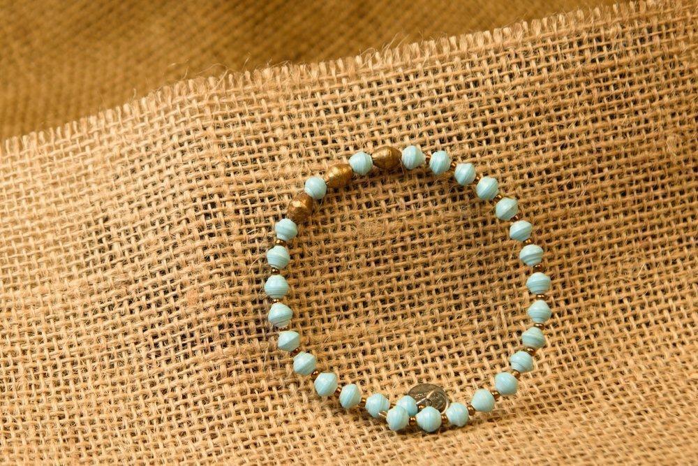 Paper Bead East African Bangle - Light Blue - Fair Trade BeadforLife Jewelry