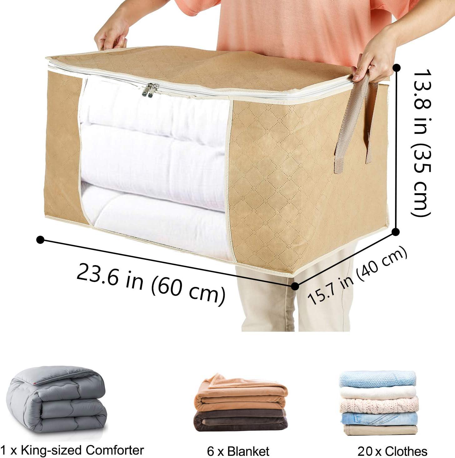 3 Piezas Caqui Yopih Bolsa de Almacenamiento de n/órdico en Gruesa no Tejida Bolsa de Almacenamiento Debajo de la Cama para Edredones Mantas Almohadas Juguetes Chaquetas Ropa Pluches