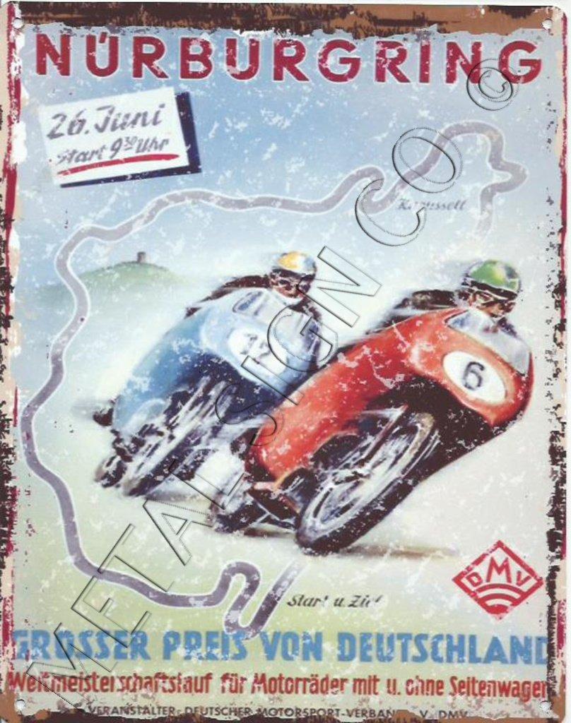 Nurburgring Carreras Anuncio Metal Sign Retro Vintage estilo ...