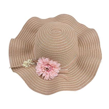 4b7803aba Amazon.com: KCPer Womens Big Flower Straw Hat Foldable Roll up Sun ...