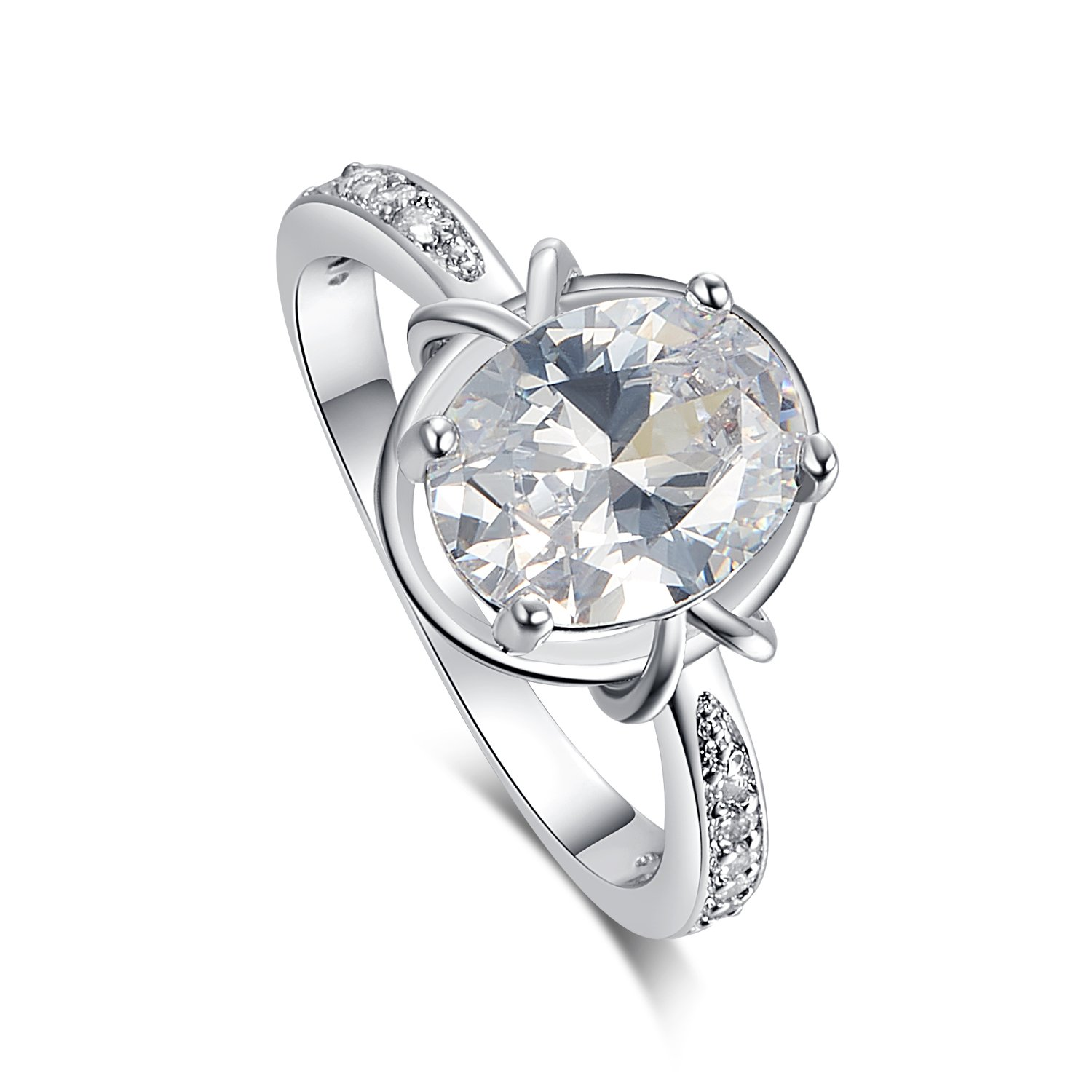 Psiroy 925 Sterling Silver Oval Cut Created White Topaz Filled Anniversary Ring Size 9