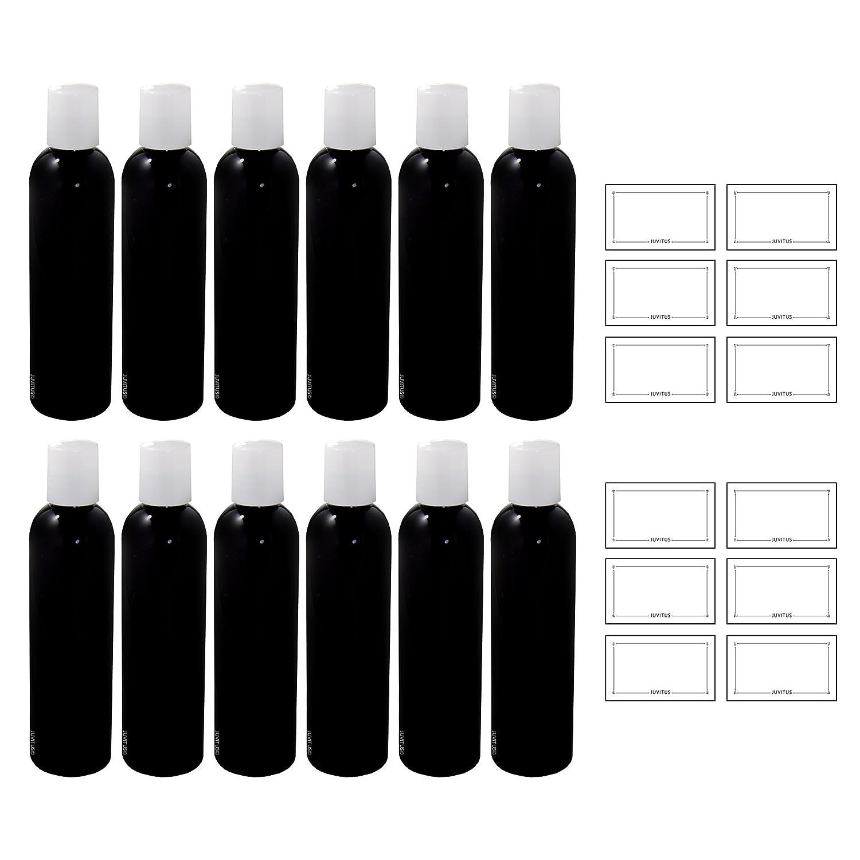 Negro 4 oz Slim Cosmo - Round PET botella de plástico (sin ...