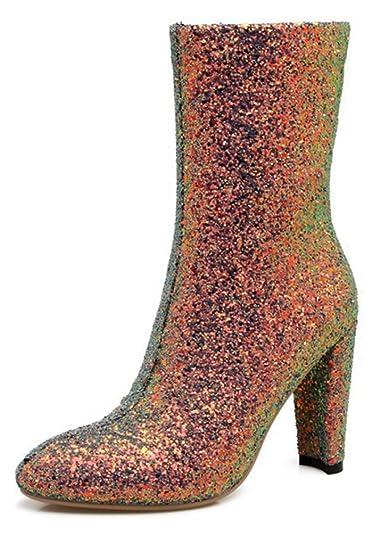 SHOWHOW Damen Strass Halbschaft Stiefelette Keilstiefel Schwarz 36 EU Tl4vTPt