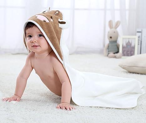 Bebé con capucha toalla, chickwin orgánico para bebé con capucha toalla de baño algodón manta manopla ...