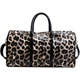 QUARKERA Leopard Leather Weekender Travel Bag for Women Girls Cheetah Animal Print Duffle Overnight Tote Shoulder Bags (Large