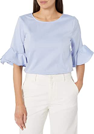 Calvin Klein Women's Short Ruffle Sleeve Blouse
