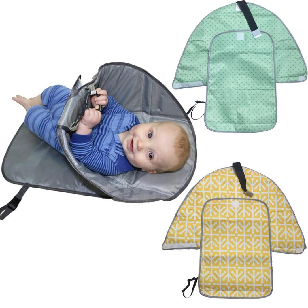 TianranRT Nappy Changing Tables, 3 in 1 Travel Outdoor Home Waterproof Hands Clean Changing Pad Portable Diaper Clutch Changing Station Foldable Diaper Storage Bag Tote Cover Mat (Green)