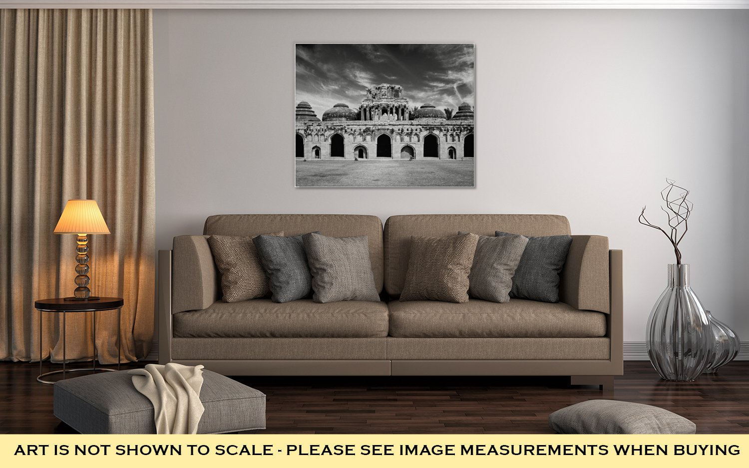 Ashley Canvas Travel India Karnataka Tourism Vintage Retro Effect Filtered Hipster Style, Wall Art Home Decor, Ready to Hang, Black/White, 16x20, AG5260663