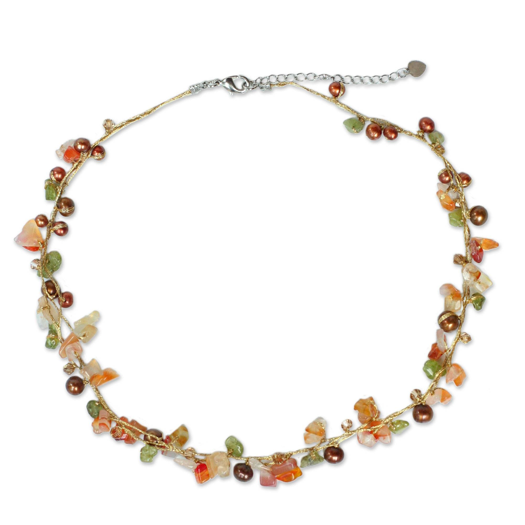 NOVICA Dyed Freshwater Cultured Pearl Necklace with Carnelian and Peridot Stones, 16.25'' 'Tropical Elite'