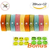 Mosquito Repellent Bands EZYKOO 20 Pack Natural Bug Insect Repellent Bracelets Microfiber Adjustable Deet Free Wristbands for Kids Adults, Indoor or Outdoor Use