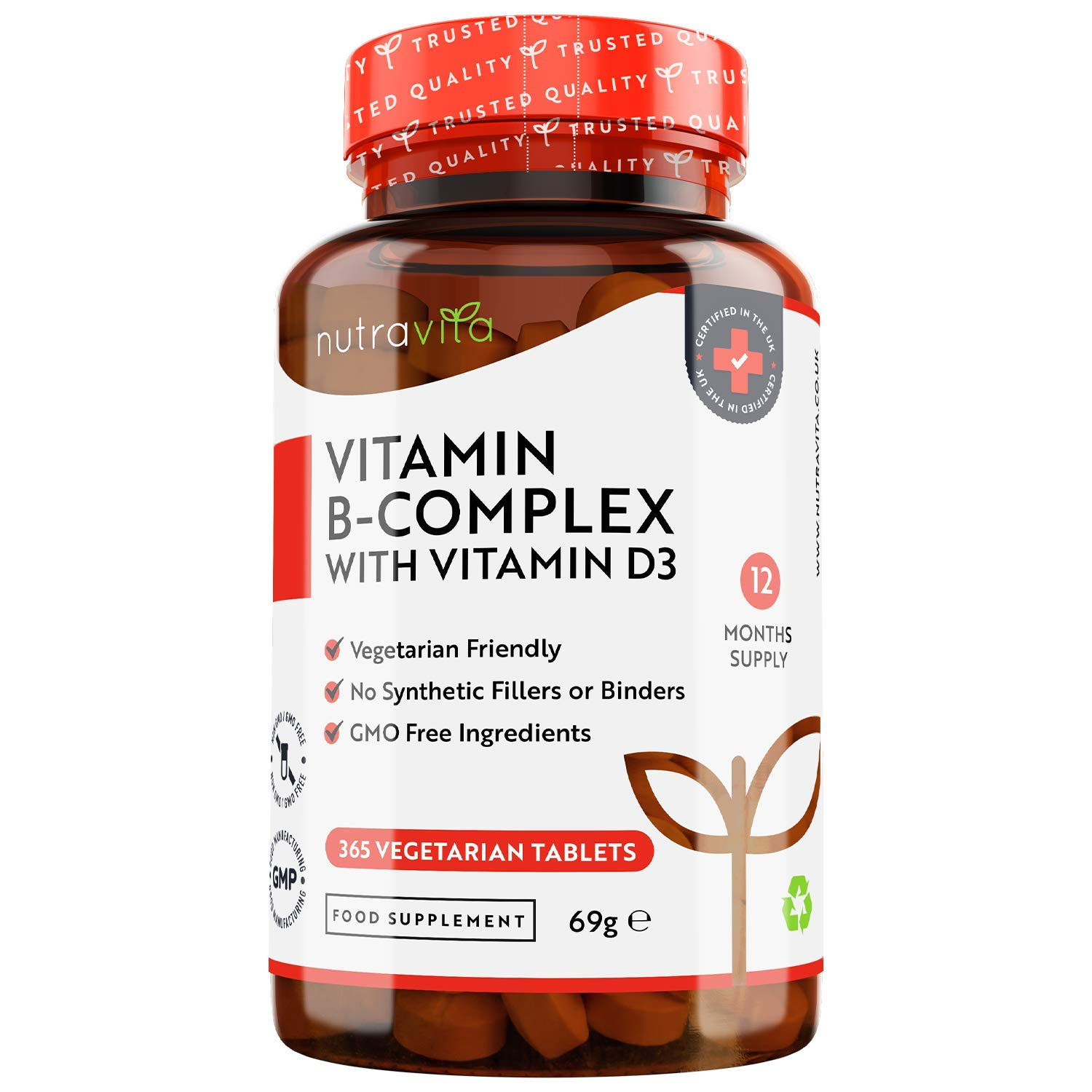 Vitamin B Complex - 365 Tablets (Full Year Supply) - All 8 B Vitamins in 1 High Strength Tablet + Added Vitamin D3 - Vitamins B1, B2, B3, B5, B6, B12, Biotin & Folic Acid - Made in The UK by Nutravita