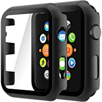 Hianjoo (2 Pack) Case Compatible with Apple Watch Series 3 Series 2 38mm, Built-in Ultra Thin HD Tempered Glass Screen…