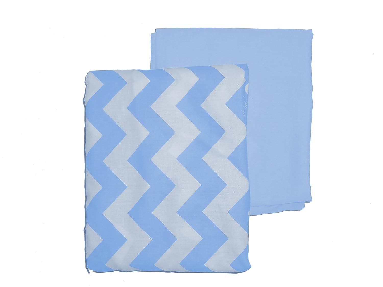 Baby Doll Bedding Chevron Round Crib Sheet Set, Blue, 2 Piece
