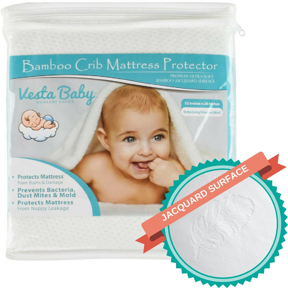 Vesta Baby Premium Ultra Soft Natural Bamboo Jacquard Crib Mattress Protector, Fitted Standard Size Waterproof Crib Mattress Cover: Absorbent, Breathable, Hypoallergenic Pad for Infant & Toddler Bed