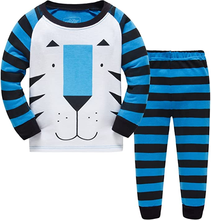 Jungen Zweiteiliger Schlafanzuge Baumwolle Lange Nachtw/äsche Baby Pyjama Kleiner Tiger