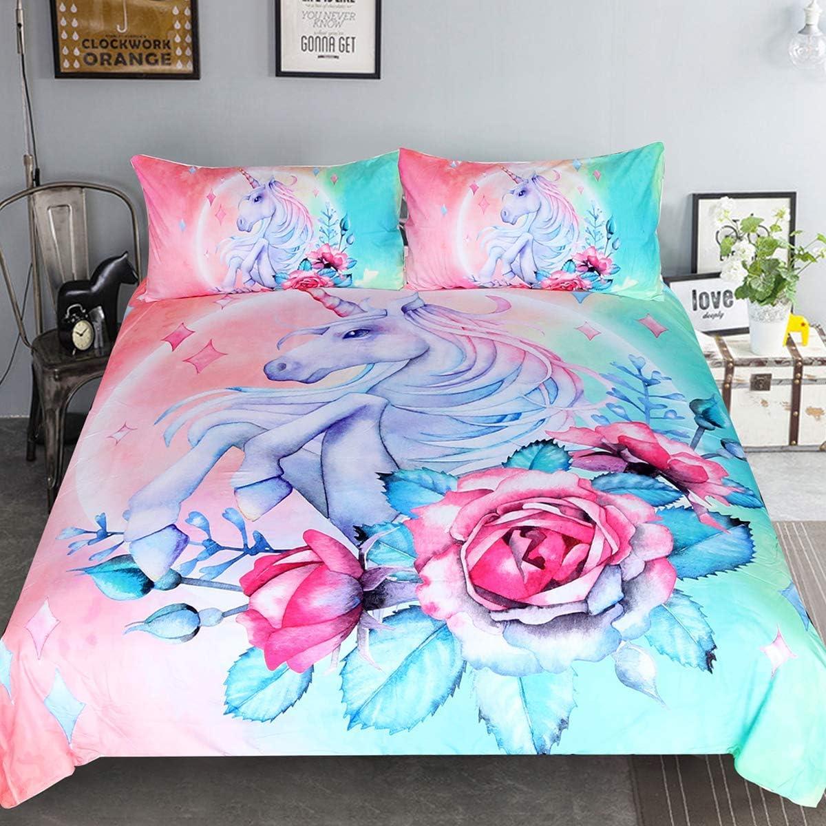 Sleepwish Unicorn Bedding Teen Magical Horse Rose Bedspreads 3 Piece Rose Pink Blue Bedding Unicorn Lovers Bedding Duvet Doona Cover Set (Full)