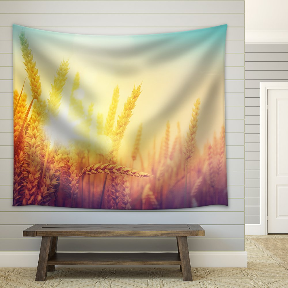 Golden Wheat Field and Sunny Day Fabric Wall - Tapestry   Wall26