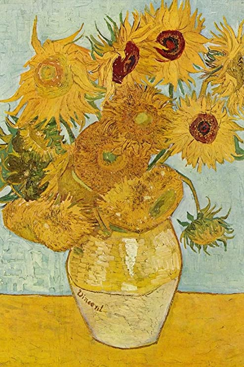 Yellow still life flowers Oil painting Vincent Van Gogh Two Cut Sunflowers