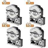 互換【6mm+9mm+12mm+18mm】 テプラテープ 白 キングジム テプラPRO カートリッジ SS6K SS9K SS12K SS18K テプラ 4種サイズのセット,KINGJIM Tepra SR250 SR530 SR150RP SR970 SR150 SR-GL1 SR170 SR330A SR750 SR-GL1アオ SR150AMなどのラベルライター用テープ 長さ8メートル