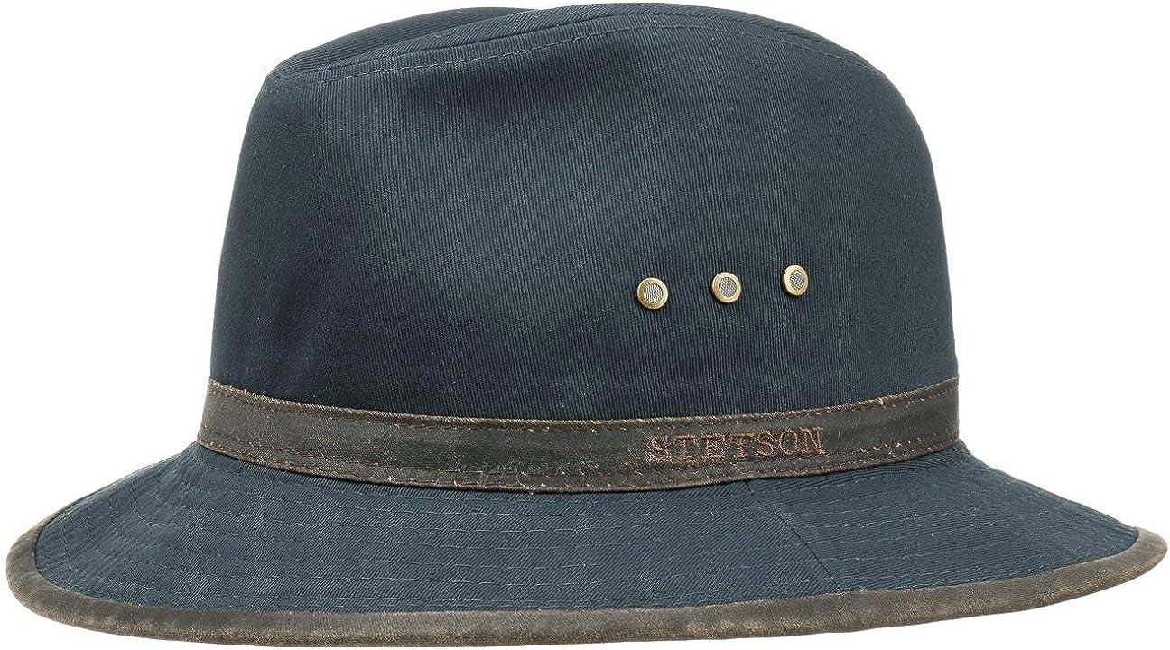 Stetson Sombrero de Algodón AVA Hombre - Outback Aventurero con Banda Piel, Ribete Primavera/Verano