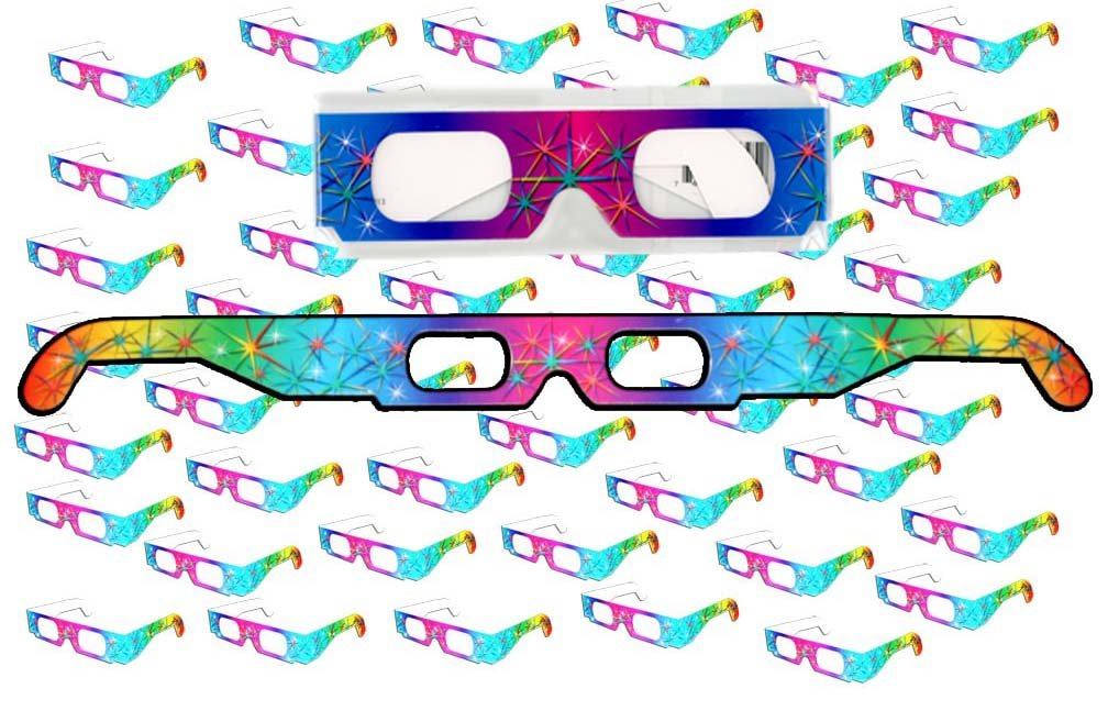 50 Pairs - Ships Flat - Prism Diffraction 3D Fireworks Glasses - For Laser Shows, Raves by 3Dstereo Glasses by 3Dstereo Glasses