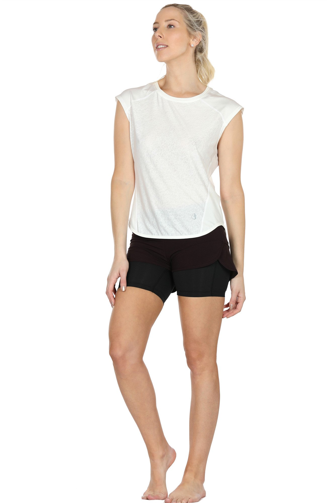 icyZone Yoga Tops Activewear Raglan Workout tank tops Fitness Sleeveless Shirts for Women (M, White)
