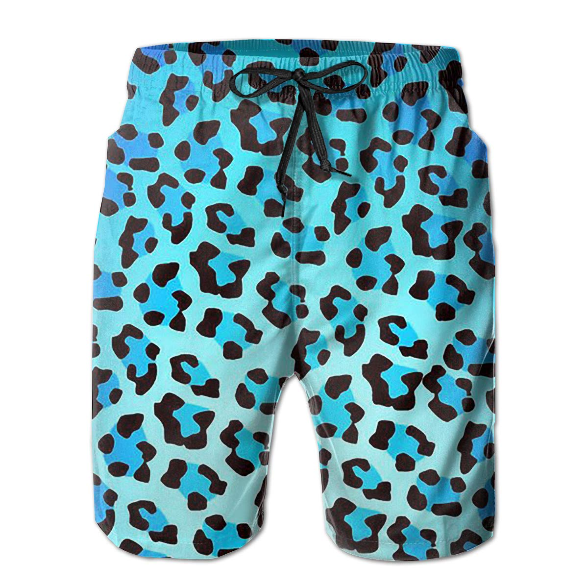 Wexzss Leopard Print Blue Funny Summer Quick-Drying Swim Trunks Beach Shorts Cargo Shorts