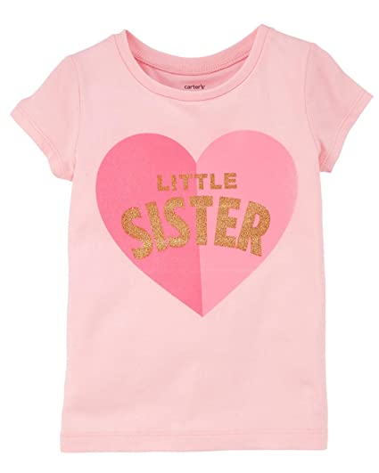 213663d6 Amazon.com: Carter's Baby Girls' Little Sister Jersey Tee Pink: Clothing