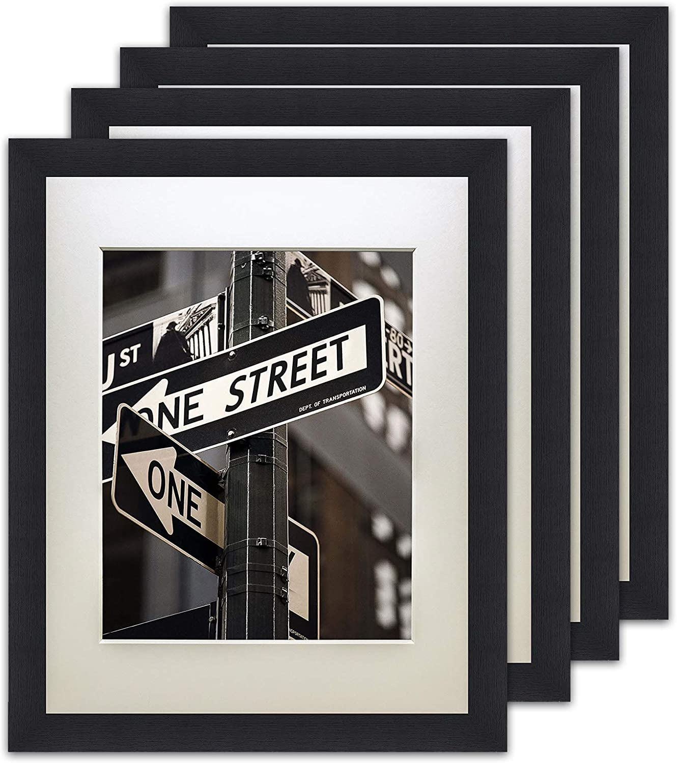 """The Display Guys – Square Profile Picture Frame – Solid Black Wood with Tempered Glass and Mat – Wall Mounted – Tabletop Display -18"""" x 24"""" - Set of 4"""