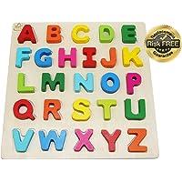 EasY FoxY ToY Holz Puzzle Grosse Bunte Buchstaben Kinder Spielzeug Ab 2 3 Jahre; Holzspielzeug Für Spielerisches Lernen Des ABC Alphabet Motorik; Geschenk für Mädchen Jungen; Pädagogisches Spiel Spaß
