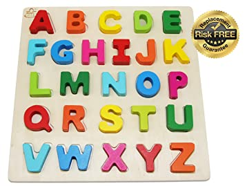 Wooden Alphabet Toddler Puzzles Toys For 2 3 Year Olds Kids With Big Bright Color Letters Abc Girl Boy Learning Resources Educational Name Shape