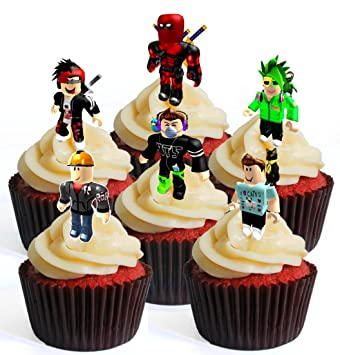 12 obleas comestibles para cupcakes de Roblox Character Boy #3 PRECUT. Decoración para tartas de pie: Amazon.es: Alimentación y bebidas