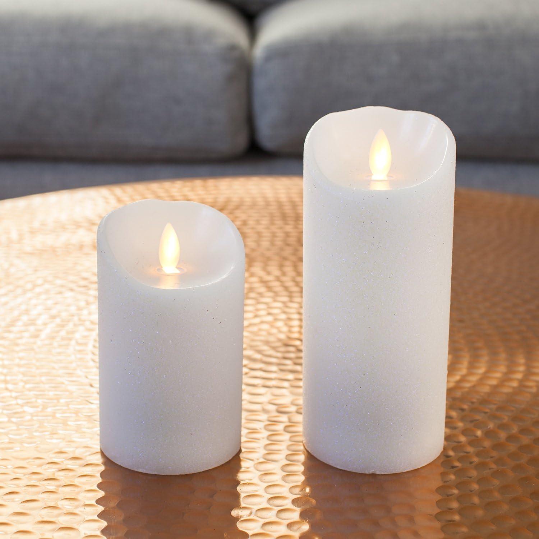 Large Mirage White Glitter Battery Operated Flickering Led Candle By Candle Impressions Amazon Co Uk Lighting