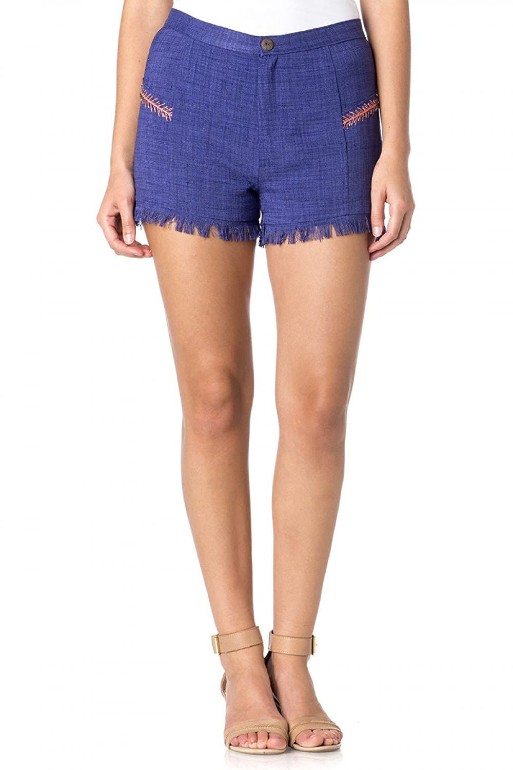 Miss Me MDP184S Blue Embroidered Fringe Shorts