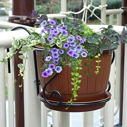 Charmant Metal Iron Hanging Flower Pots Balcony Fence Garden Planters Stand Wall  Hanging Metal Bucket Flower Rack